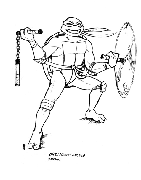 free michealangelo tmnt coloring pages