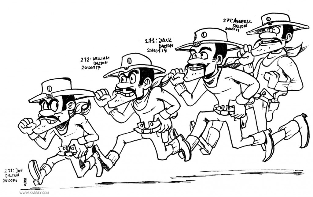 Joe, William, Jack and Avarell Dalton from Lucky Luke